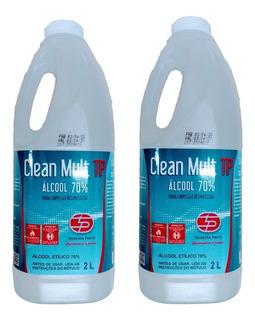 Kit 2 Álcool 70% Liquido 4 Litros Clean Mult