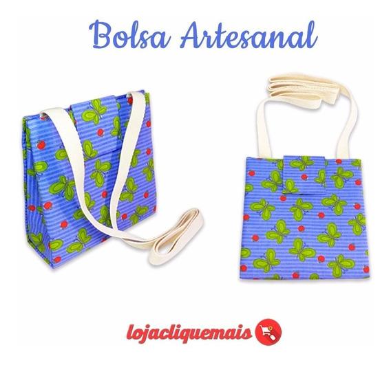 Bolsa Tiracolo Feminina Midi Artesanal Sustentável Azul