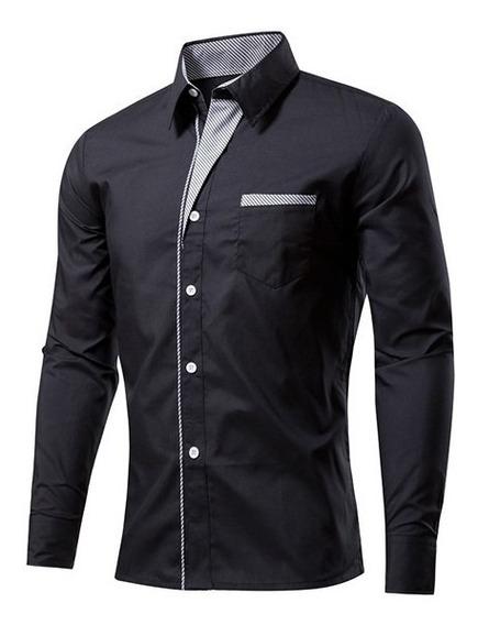 Camisa Camisas Social Masculina Slim Fit Casual Manga Longa