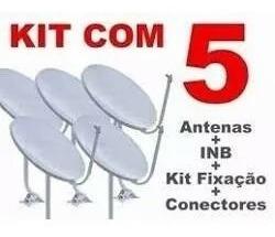 5 Antens Novas Completas Lnb Duplo + 100 Metro Cabo