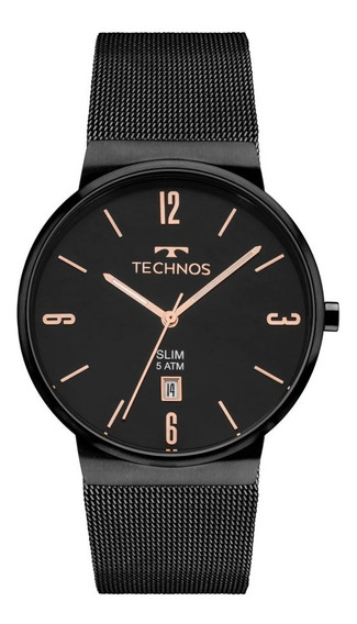 Relógio Technos Masculino Slim Gm10yj/4p Preto Rose Analogo