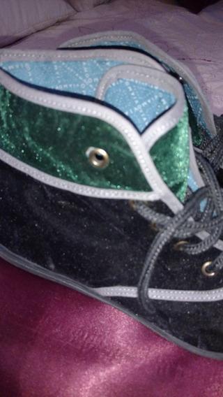 Zapatillas Viamo Terciopelo Negro Y Verde