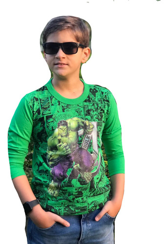 Kit 5 Camiseta Blusa Manga Longa Infantil Menino S Herois