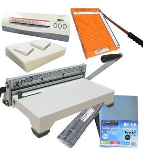 Kit Encadernadora A4 + Plastificadora + Guilhotina + Insumos