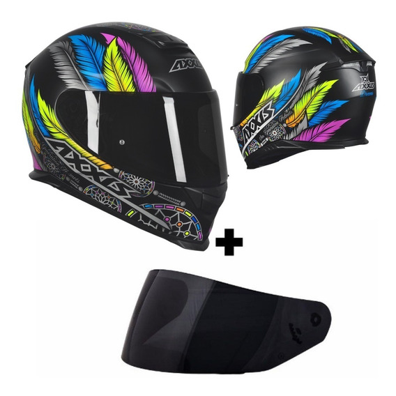 Capacete Axxis Eagle Dreams Matt Black Grey Com Viseira Fumê