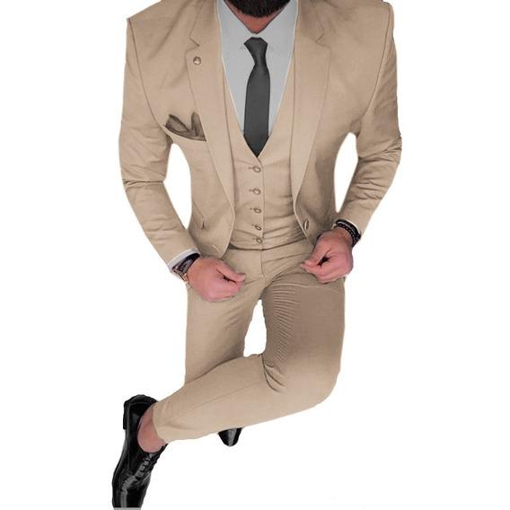 Camisa Entallada Con Traje Completo Satinado Slim Importado