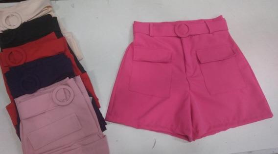 Short Bermuda Cintura Alta Cinto Forrado Bolso Feminino