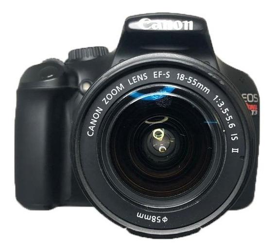 Camera Dslr Canon T3 Lente 18-55 Seminova Perfeita