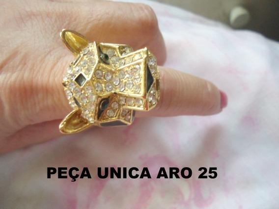 Anel Dourado Cabeça Tigre Lindo Aro 25