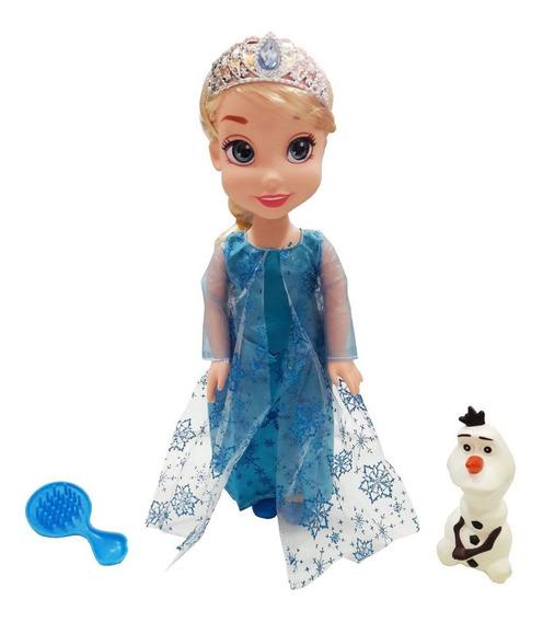 Boneca Anna Ou Elsa Frozen 40 Cm Acessórios Princesas Disney