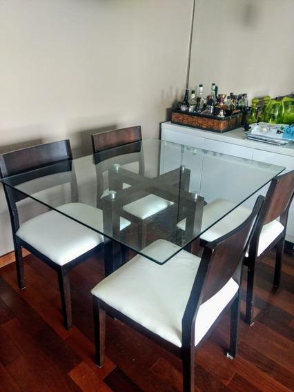 Mesa Com 4 Cadeiras - Tampo De Vidro E Base De Madeira