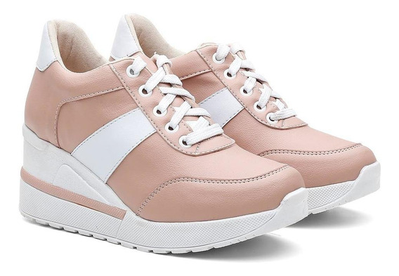 Tênis Sneaker Feminino Vicerinne Salto Alto Anabela Conforto