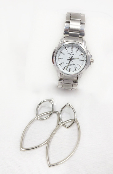 Relógio Feminino Prata Caixa Pequeno A Prova Dágua+brinco