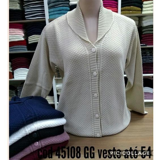 Casaco Casaquinho Trico Lã Plus Size 50/52/54