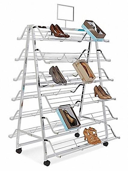 Exhibidor De Acero Chapado En Cromo Para 168 Zapatos