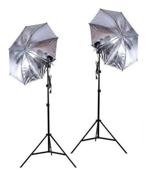 Kit Iluminação 2x Sombrinha Prata + Soquete E27 + Tripe