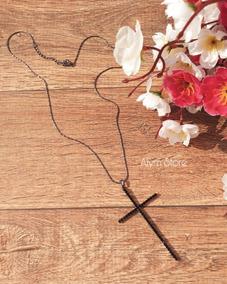Colar Banhado Ródio Negro Crucifixo Feminino Moda Tendência