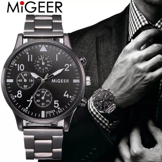 Relógio Luxo Masculino Pulso Pulseira Aço Inoxidável