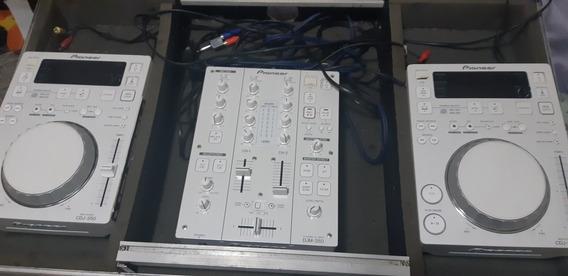 Par Cdj 350 White + Djm 350 White Com Hard Case