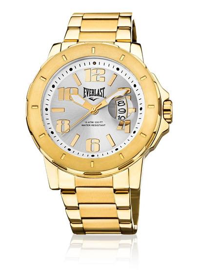 Relógio Pulso Everlast Masculino Calendário Aço Dourado E643
