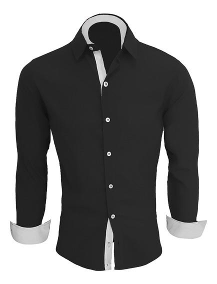 Camisa Social Masculina Slim Fit Camiseta Blusa Manga Longa