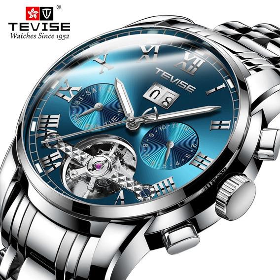 Reloj De Pulsera Mecánico Automático Para Hombre Tevise-azul