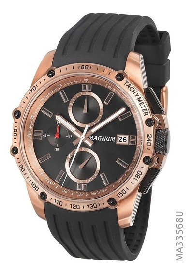Relógio Magnum Masculino Preto Com Rosé Ma33568u