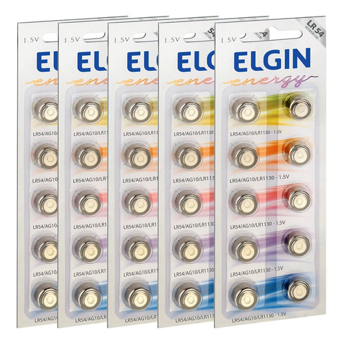 Imagem 1 de 5 de 50 Pilhas Baterias Lr1130 Lr54 Ag10 Alcalina Elgin 05 Cart