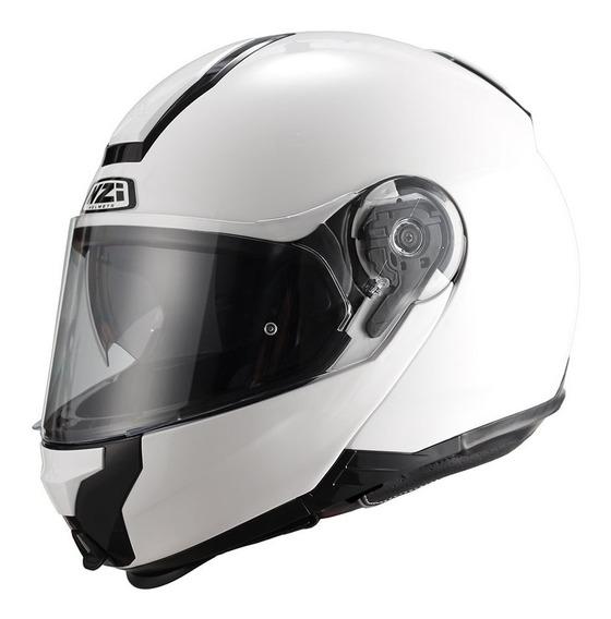 Casco Moto Rebatible Nzi Combi Duo Doble Visor Blanco Brillo