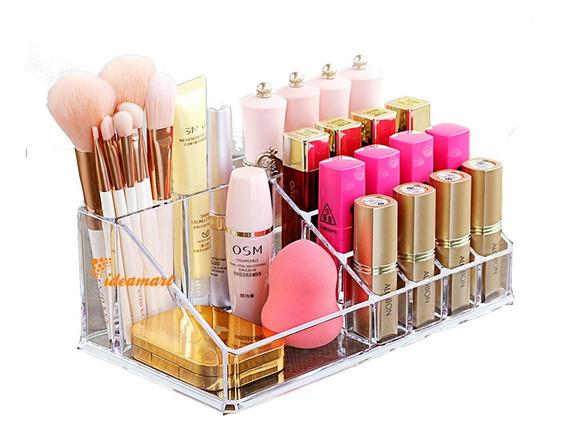 Organizador Porta Maquiagem Pincel Batom Acrílico