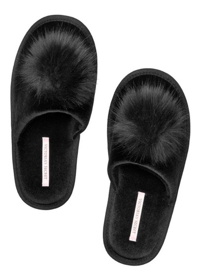 Pantuflas Victorias Secret Pompon Negras Pijama Accesorio