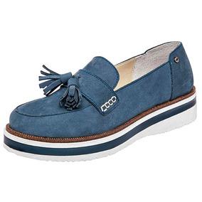 Zapatos Levis Casual Flats Mujer Piel Azul 85688 Dtt