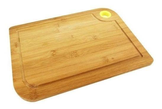 Tabua De Cortar Carne Legumes Bambu Com Alça De Silicone