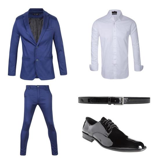 Camisa Entallada Con Saco Chupin Zapatos Y Cinto Import