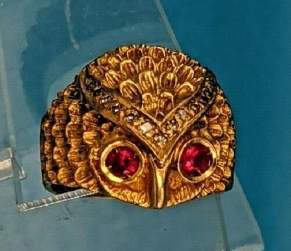 Antiguo Anillo De Oro De 24 Kilates Con Diamantes Y Rubies