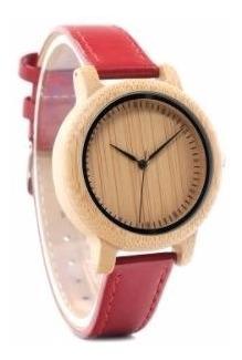 Relógio Feminino Bambu Madeira Analógico Bobo Bird J09 Red