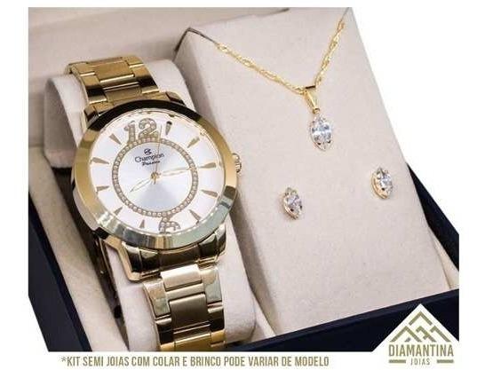 Relógio Feminino Dourado Champion Ch24259h Com Kit Semijoias