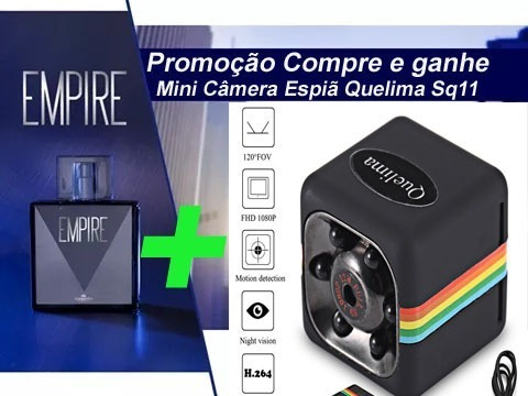 Kit Perfume Empire Sport + Mini Câmera Espiã Quelima +brinde