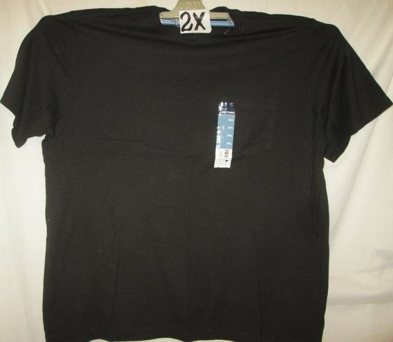 Camiseta Casual Negra Cuello Redondo Talla 2 X Basic Edition