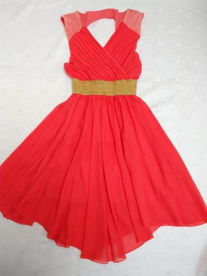 Vestido Coral Corte Sesgado Con Forro Muy Elegante Y Comodo