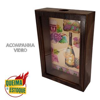 Quadro Porta Rolhas De Vinho Vidro Rústico Madeira Queima