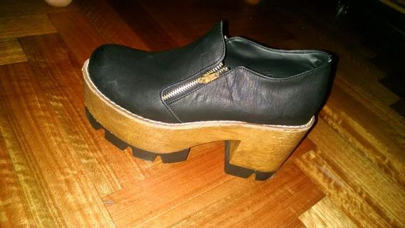 Zapatos Negros Plataforma Madera 2016