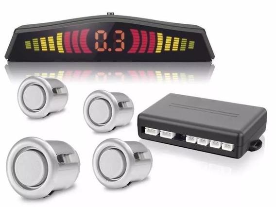 Sensor De Estacionamento Ré Prata C/display 4 Pontos