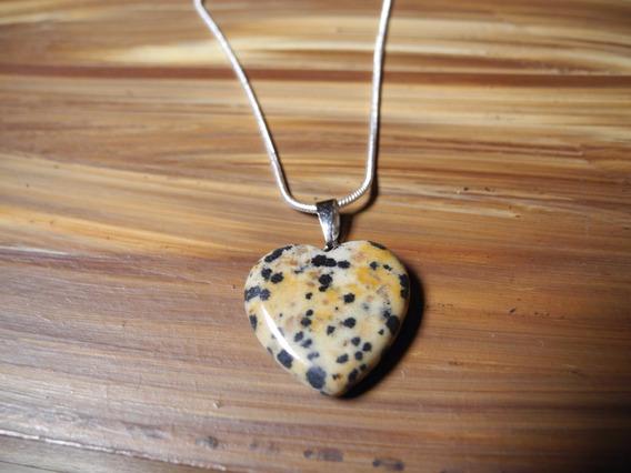Colar Coração Pedra Natural Prateado Jaspe Dalmata I