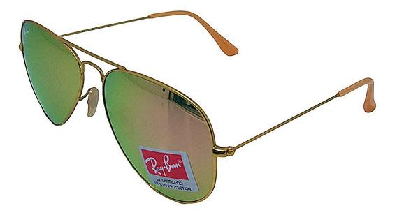 Óculos De Sol Aviador Clássico Retro Vintage Masculino Feminino Rose Espelhado Tamanho 62