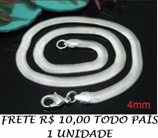 Corrente Cordão 2 Banhos Prata Snake 60cm, 4mm, 12gr 925 K
