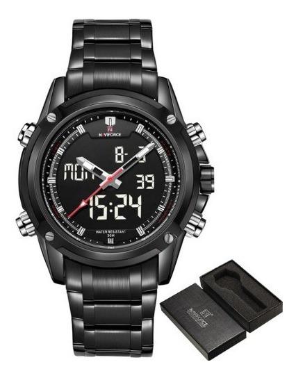 Relógio Analógico Digital Naviforce Pulseira Aço Preto Nf905