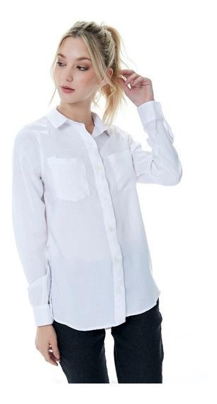 Camisa Lisa Batista Mujer Manga Larga T.36 Al 46