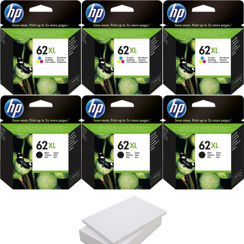 Kit De 3 Cartuchos Hp 62xl Negro Y 3 Hp 62xl Tricolor+1 Resm