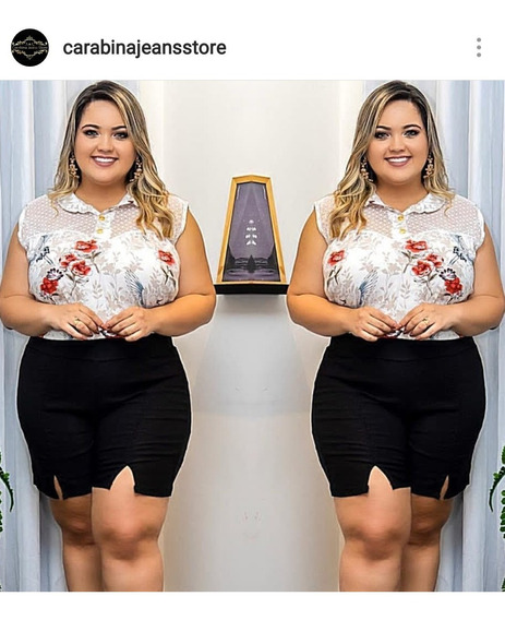 Conjunto Plus Size Short Cintura Alta + Blusa Soltinha Verã